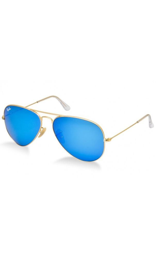 Gafas Ray Ban Aviador 3025 lente azul Espejo marco y patas doradas.