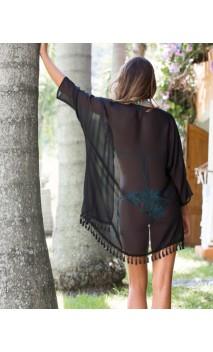 Kimono negro con flecos